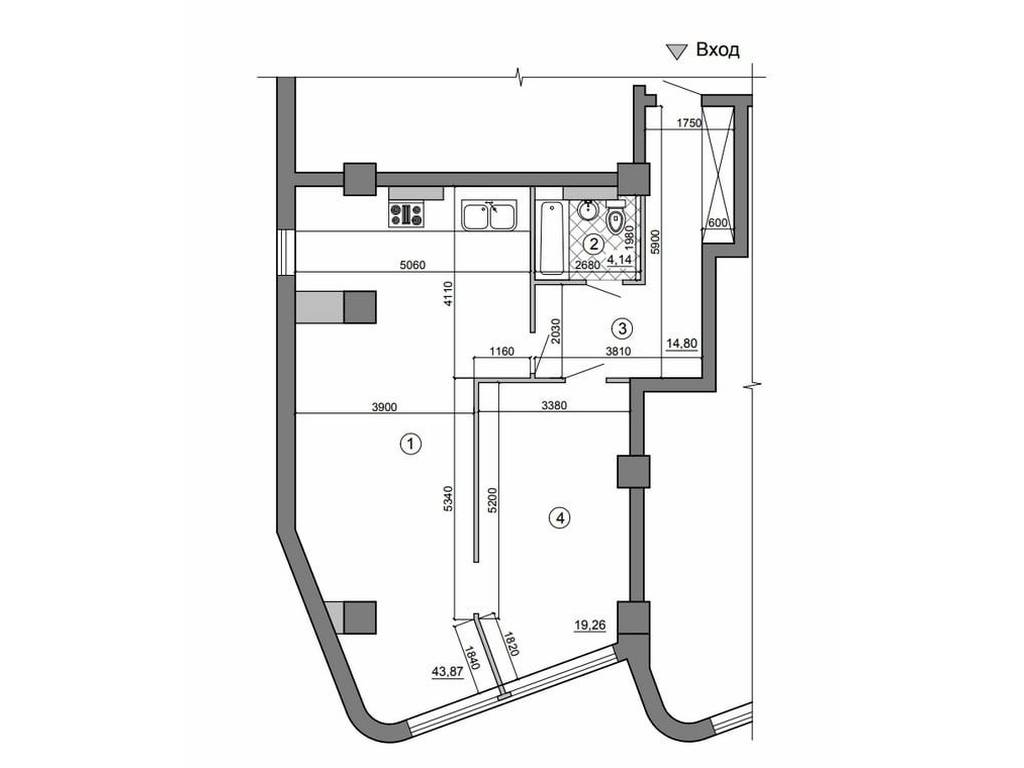 1-комнатная квартира, 42.00 м2, 75000 у.е.