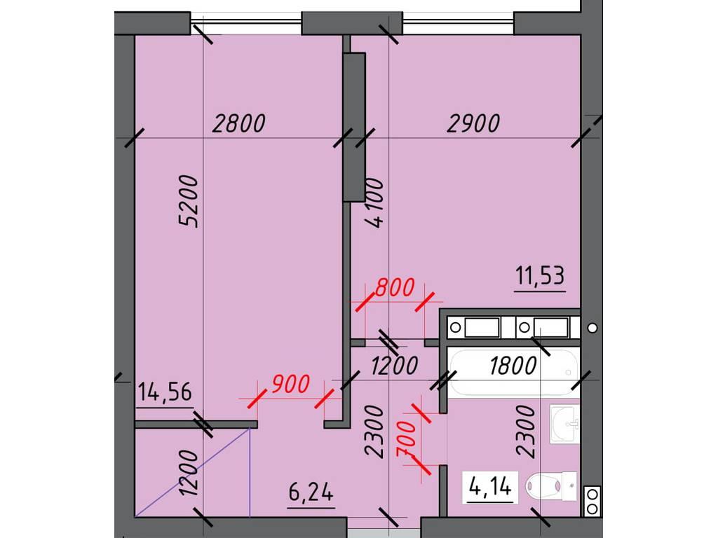 1-комнатная квартира, 38.20 м2, 24830 у.е.