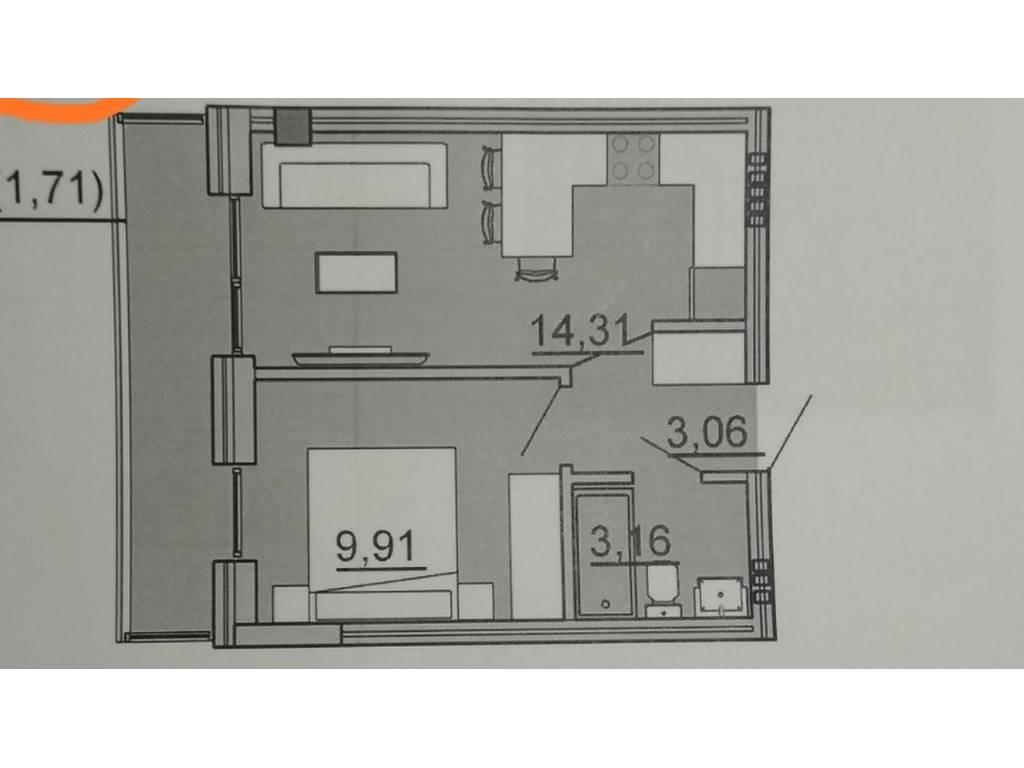 1-комнатная квартира, 32.00 м2, 37000 у.е.