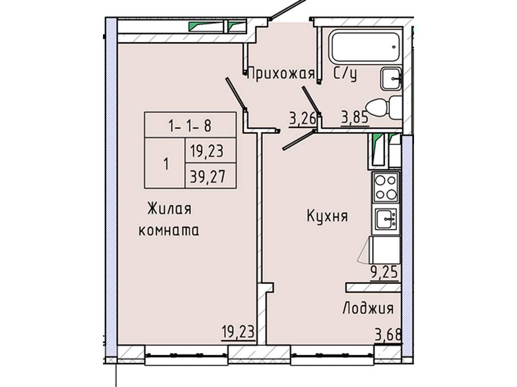 1-комнатная квартира, 39.00 м2, 76000 у.е.
