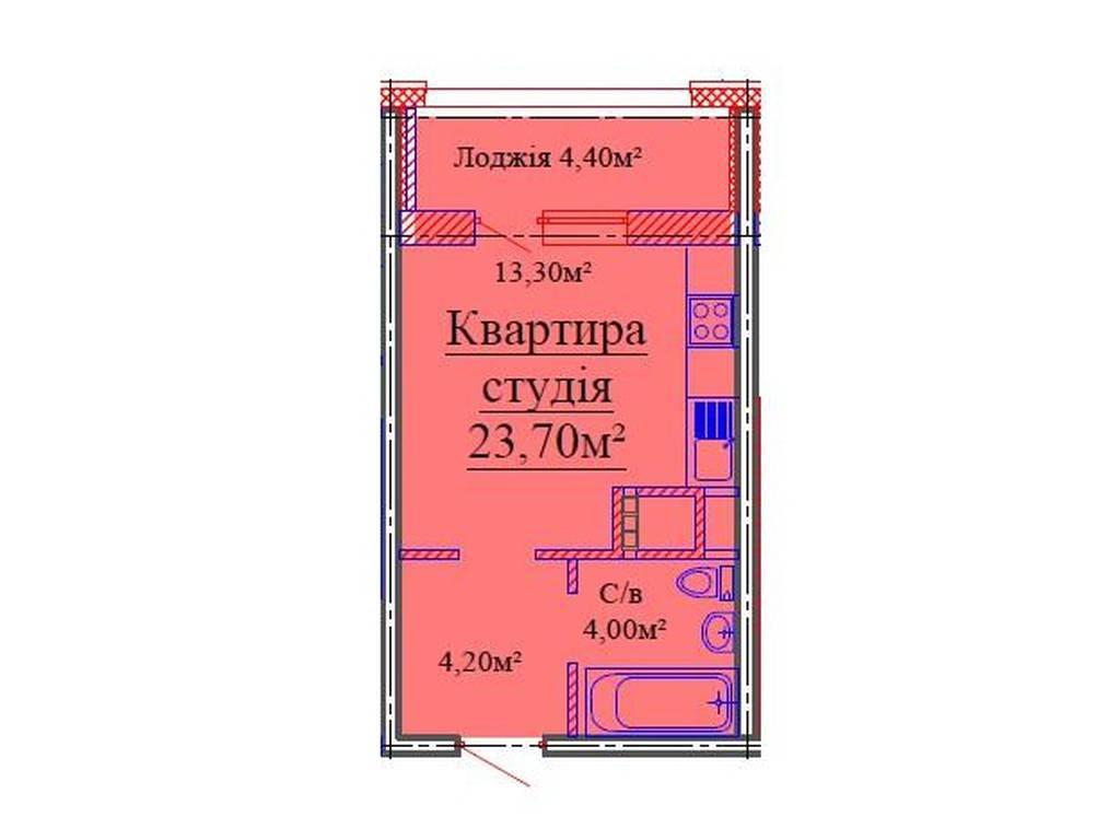 1-комнатная квартира, 24.00 м2, 22000 у.е.