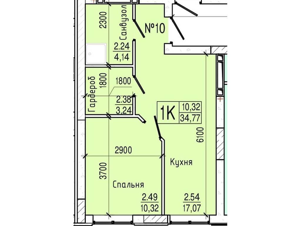 1-комнатная квартира, 34.77 м2, 28859 у.е.