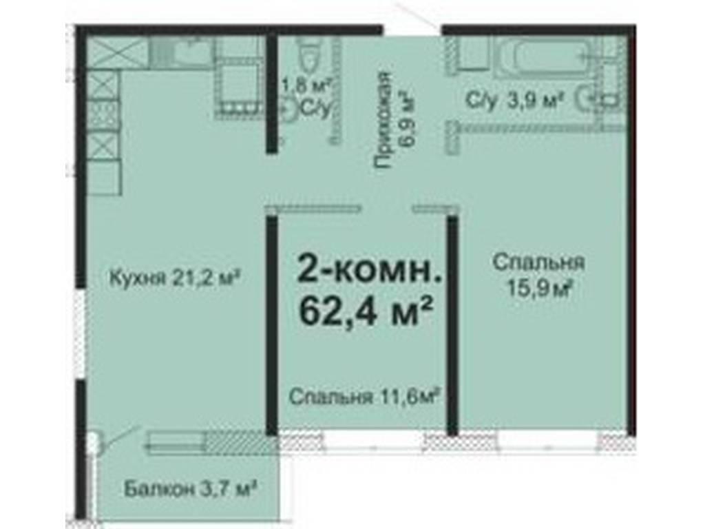 2-комнатная квартира, 62.40 м2, 55000 у.е.