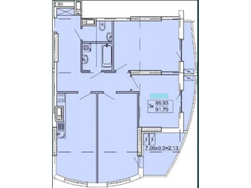 3-комнатная квартира, 92.00 м2, 105000 у.е.