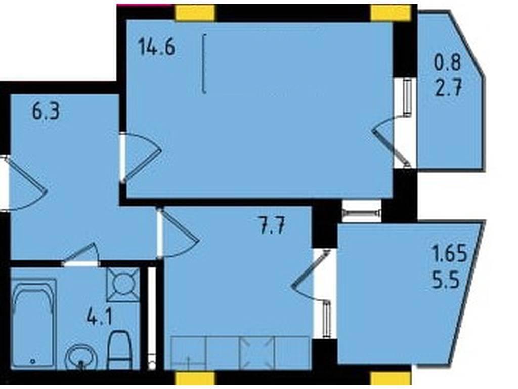 1-комнатная квартира, 35.16 м2, 31433 у.е.