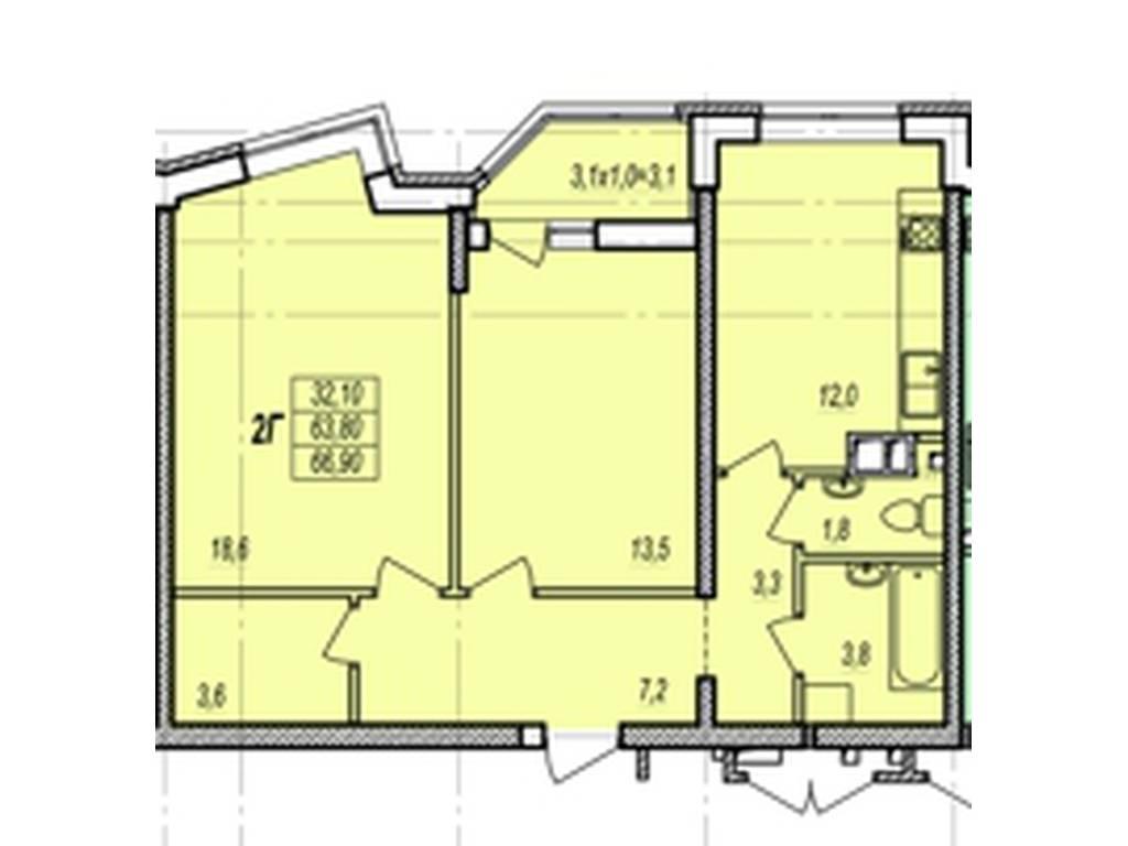 2-комнатная квартира, 64.70 м2, 59900 у.е.