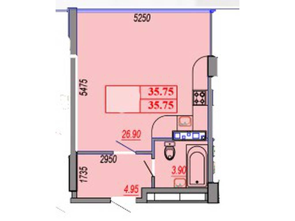 1-комнатная квартира, 35.75 м2, 40220 у.е.