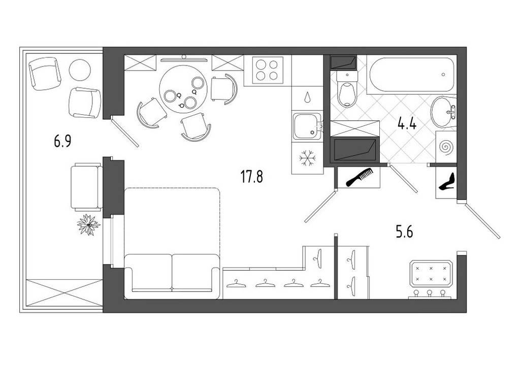 1-комнатная квартира, 25.00 м2, 33750 у.е.