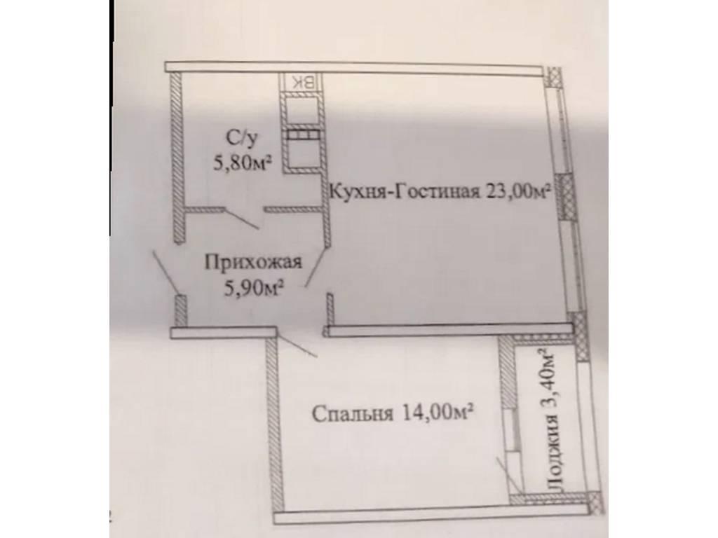 1-комнатная квартира, 51.30 м2, 46490 у.е.