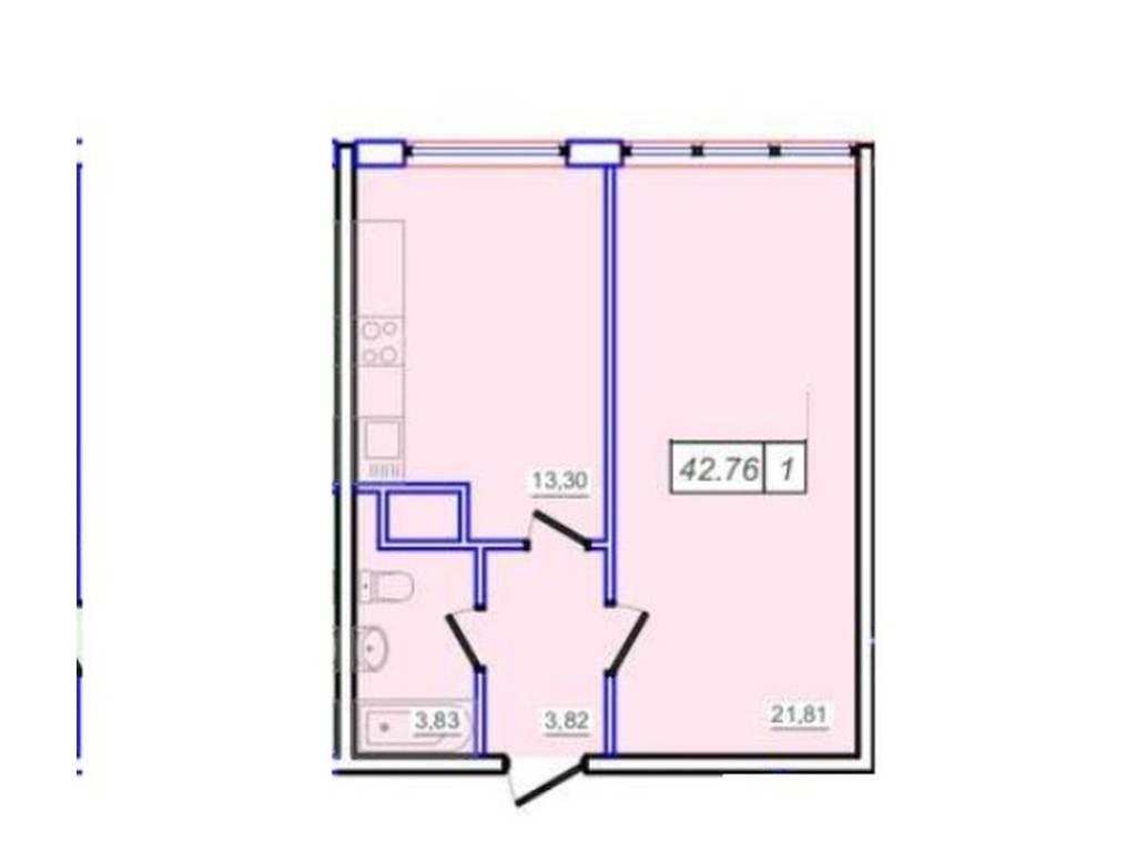 1-комнатная квартира, 42.70 м2, 33500 у.е.
