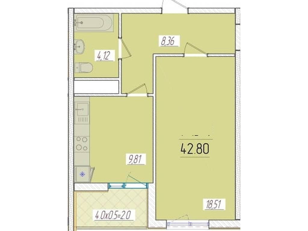1-комнатная квартира, 42.80 м2, 37535 у.е.