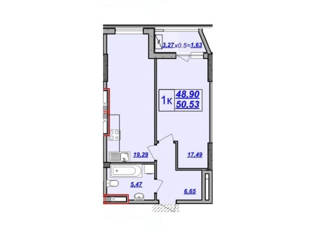 1-комнатная квартира, 50.68 м2, 54228 у.е.