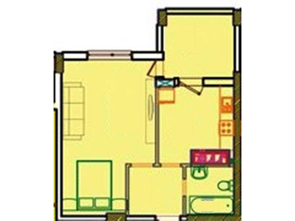 1-комнатная квартира, 42.79 м2, 27385 у.е.
