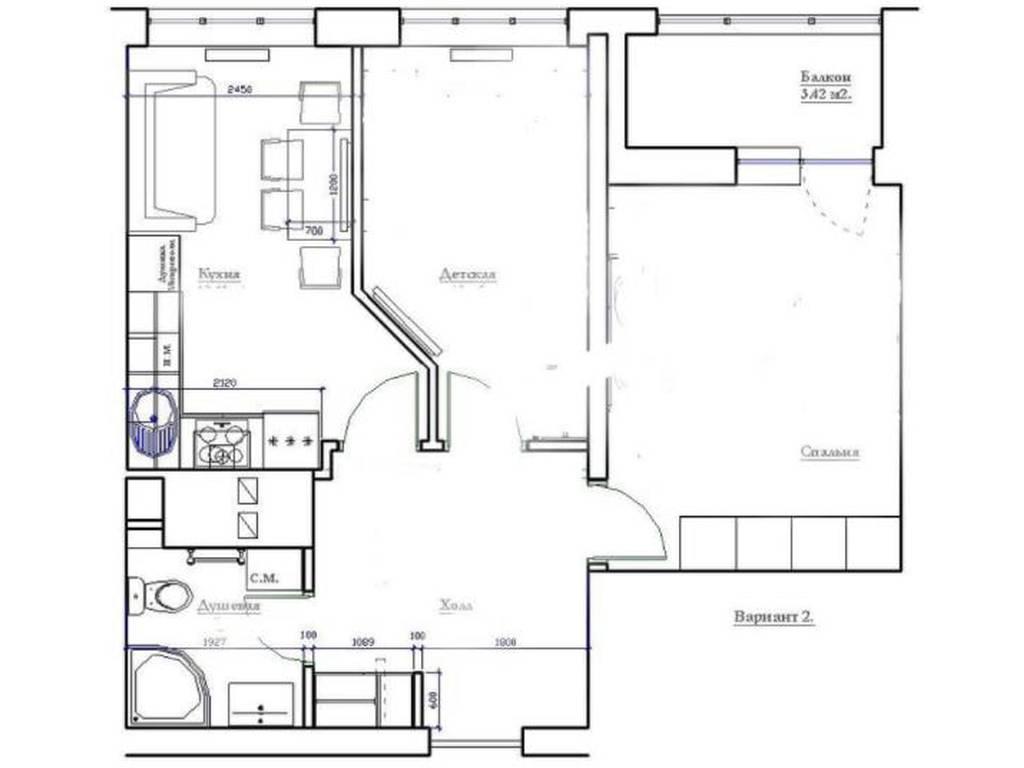 2-комнатная квартира, 55.00 м2, 75000 у.е.