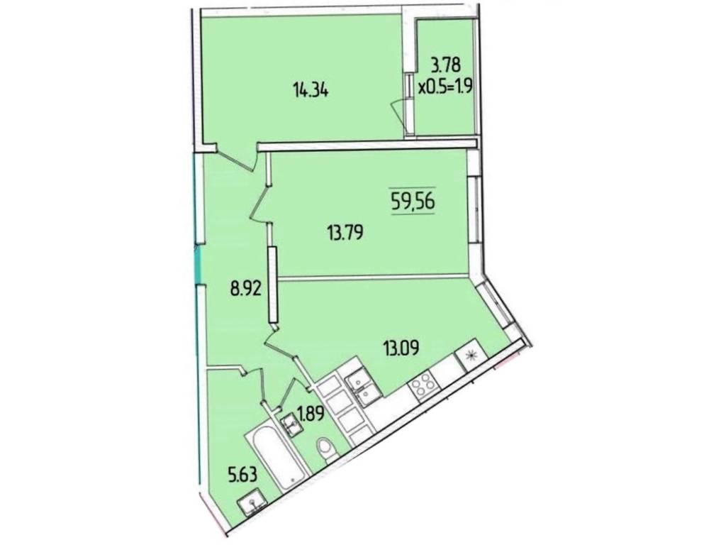 2-комнатная квартира, 59.56 м2, 49315 у.е.