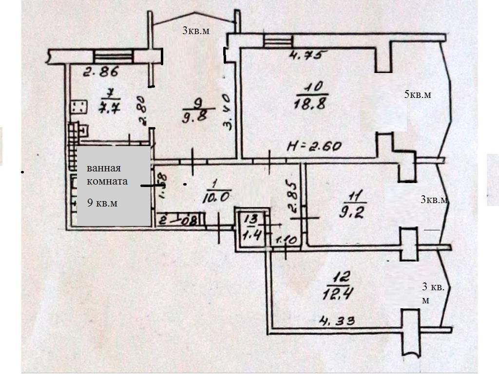 4-комнатная квартира, 86.00 м2, 88000 у.е.