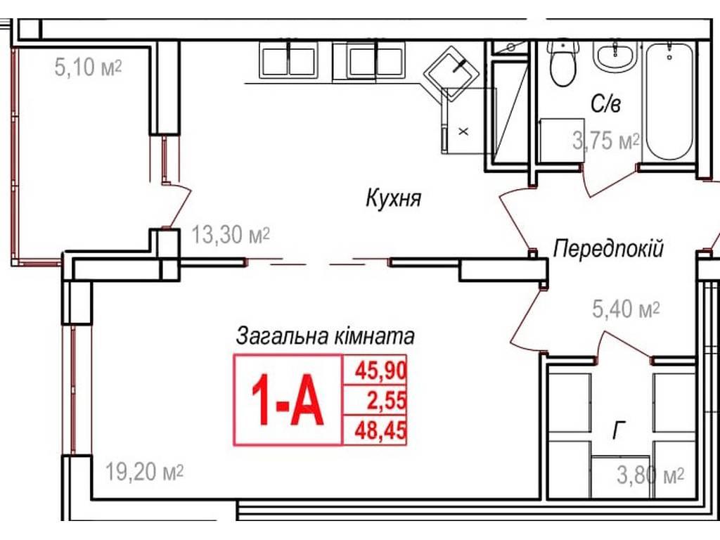 1-комнатная квартира, 48.45 м2, 43605 у.е.