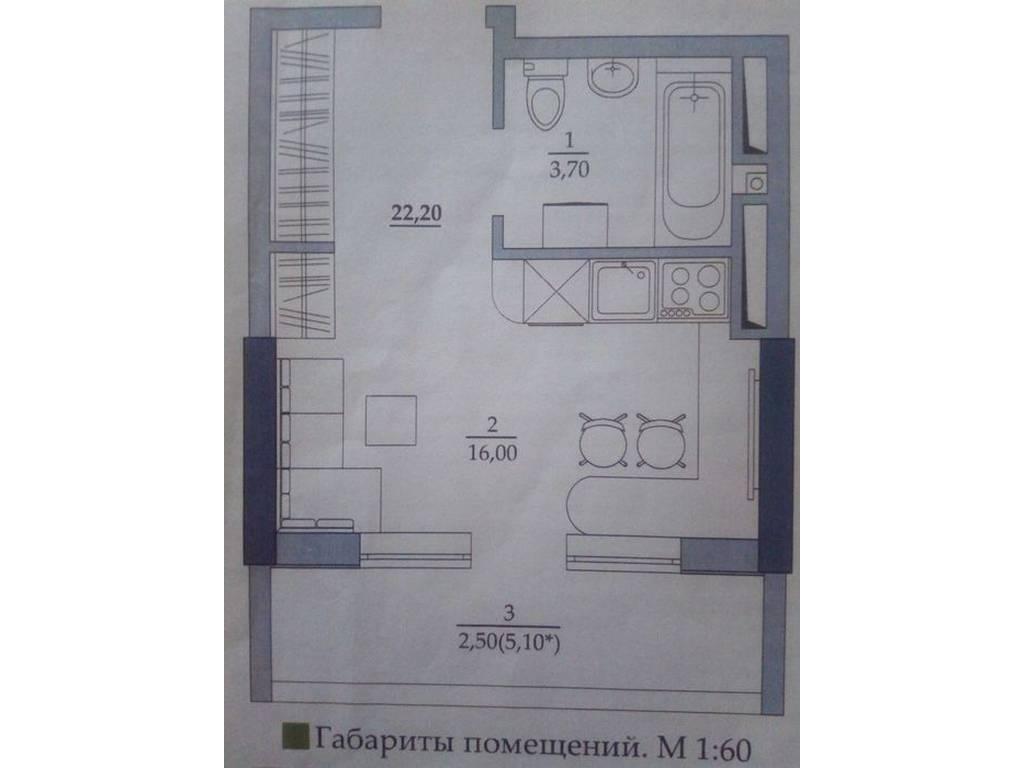 1-комнатная квартира, 22.20 м2, 17500 у.е.
