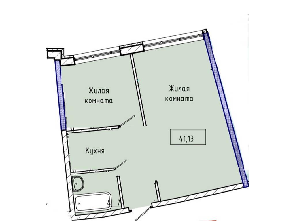1-комнатная квартира, 41.00 м2, 71000 у.е.