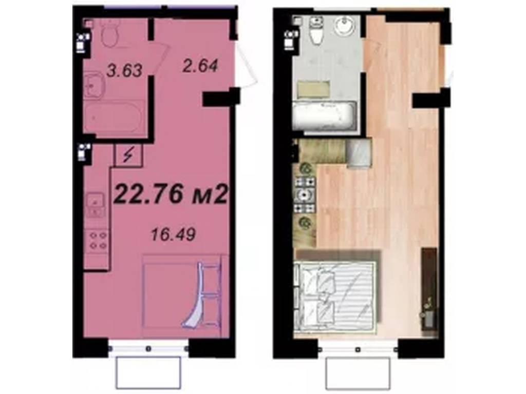 1-комнатная квартира, 23.00 м2, 19400 у.е.