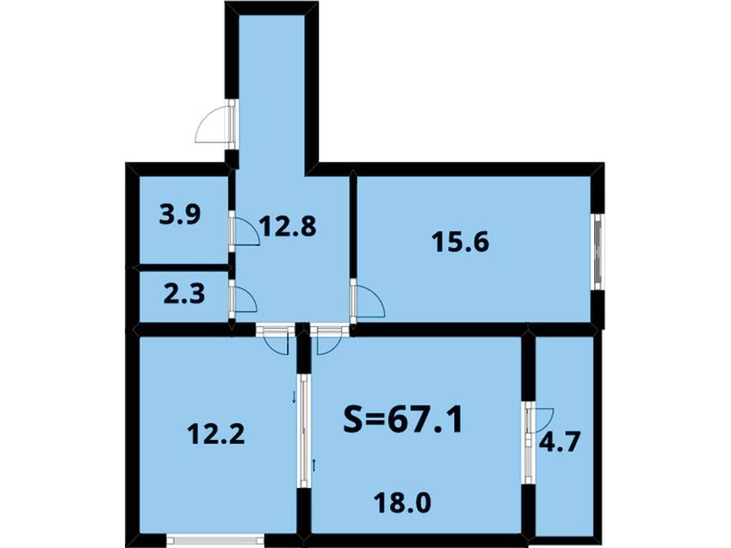 2-комнатная квартира, 68.00 м2, 56500 у.е.
