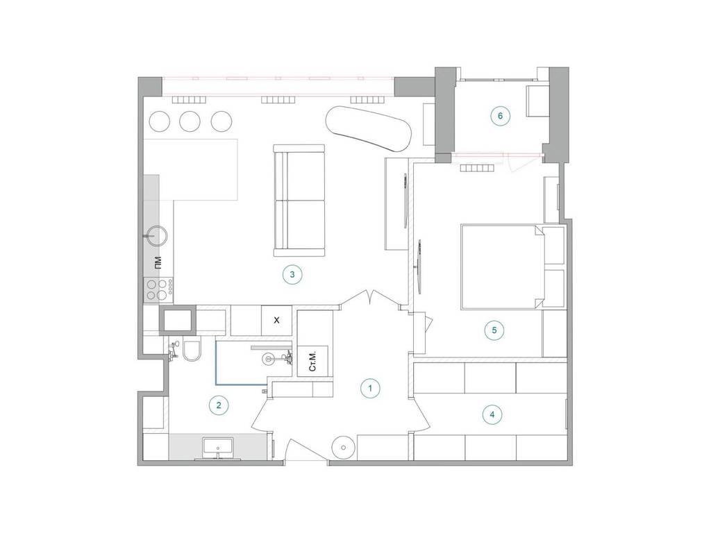 1-комнатная квартира, 50.00 м2, 49900 у.е.