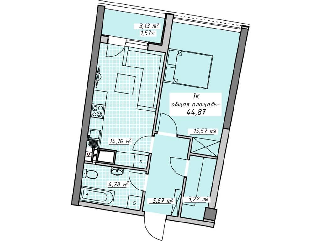 1-комнатная квартира, 44.00 м2, 38588 у.е.