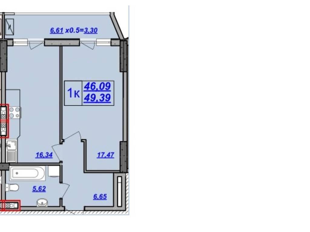 1-комнатная квартира, 46.50 м2, 49000 у.е.
