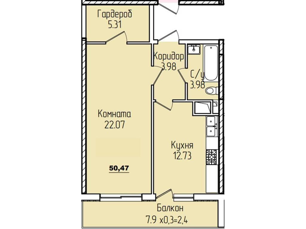 1-комнатная квартира, 49.30 м2, 54500 у.е.