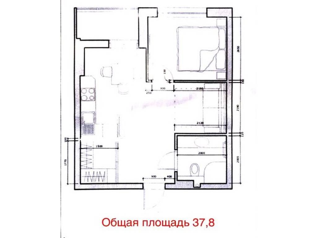 1-комнатная квартира, 37.80 м2, 34500 у.е.