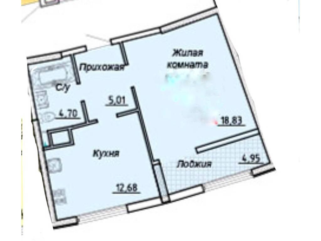 1-комнатная квартира, 47.00 м2, 54050 у.е.