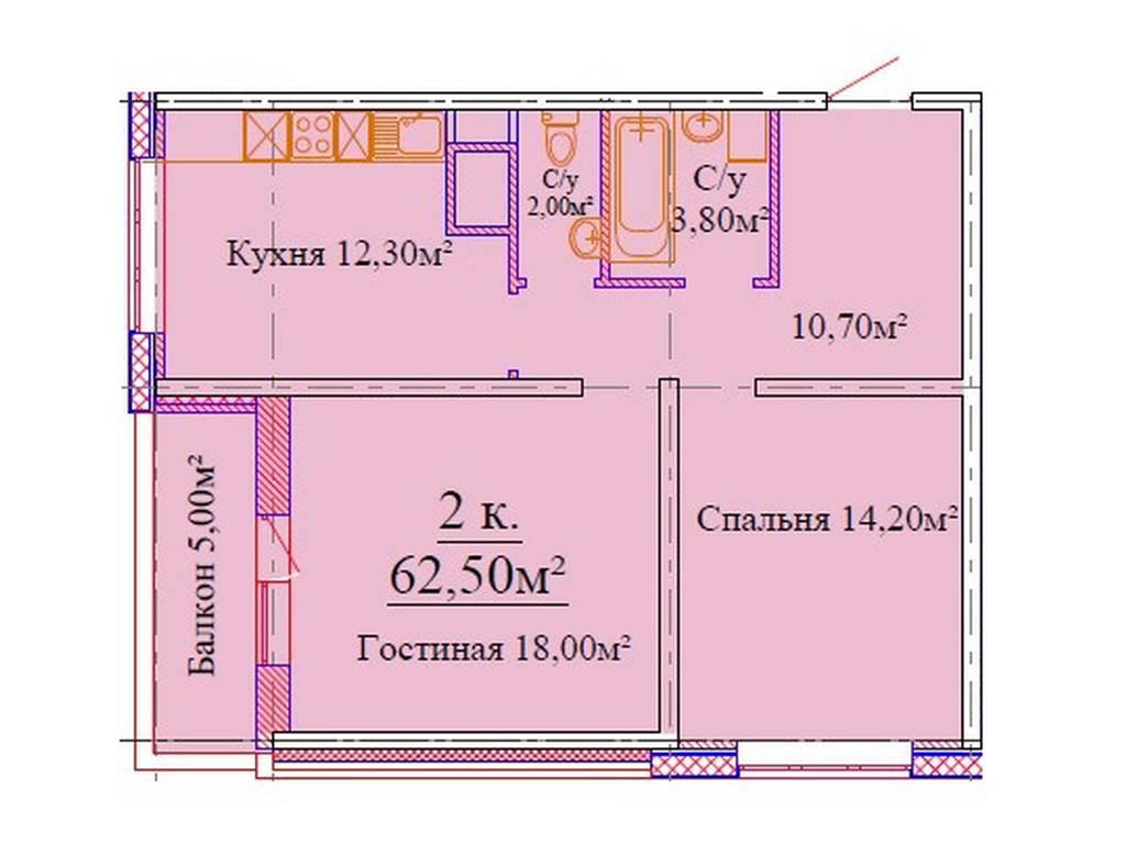 2-комнатная квартира, 63.00 м2, 57000 у.е.