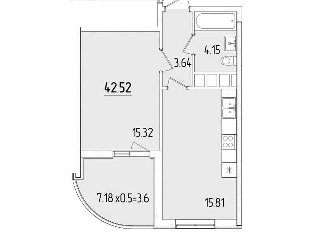 1-комнатная квартира, 42.52 м2, 37715 у.е.
