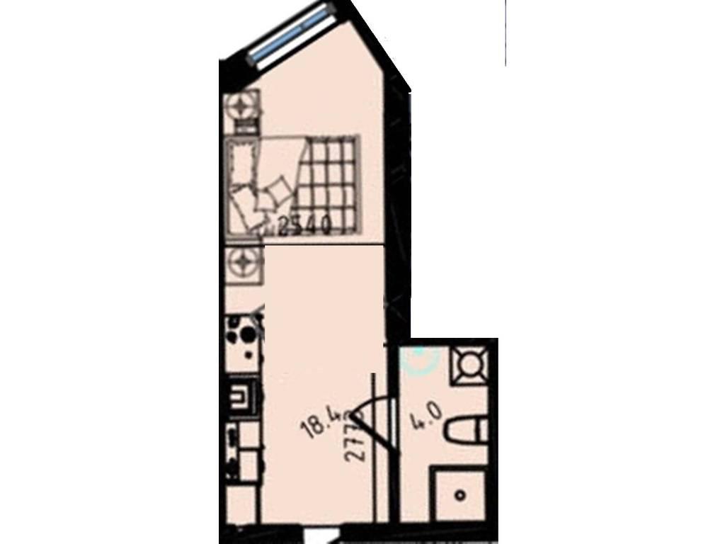 1-комнатная квартира, 22.40 м2, 16285 у.е.