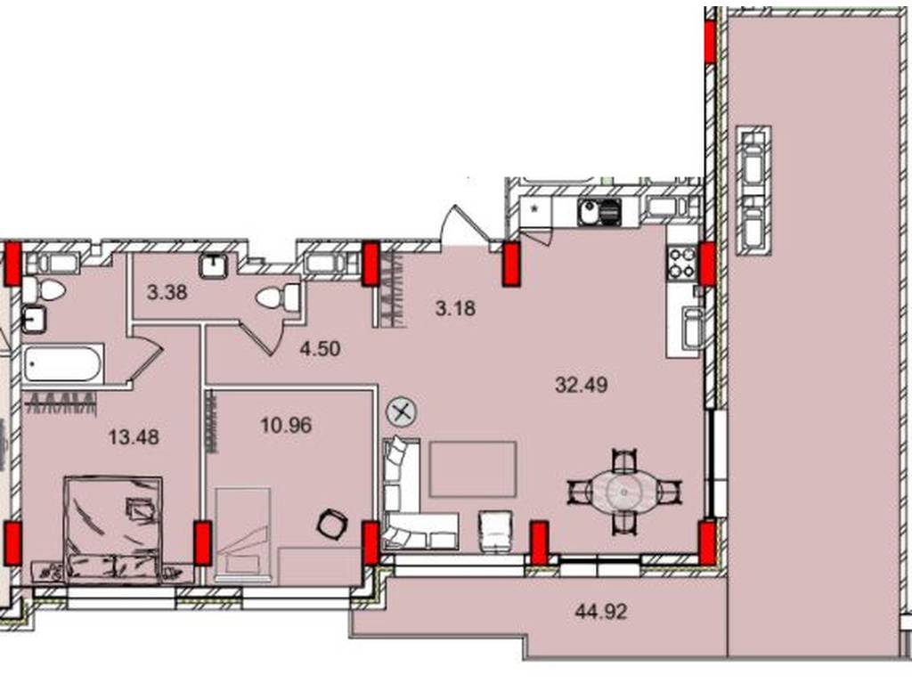2-комнатная квартира, 83.00 м2, 65000 у.е.