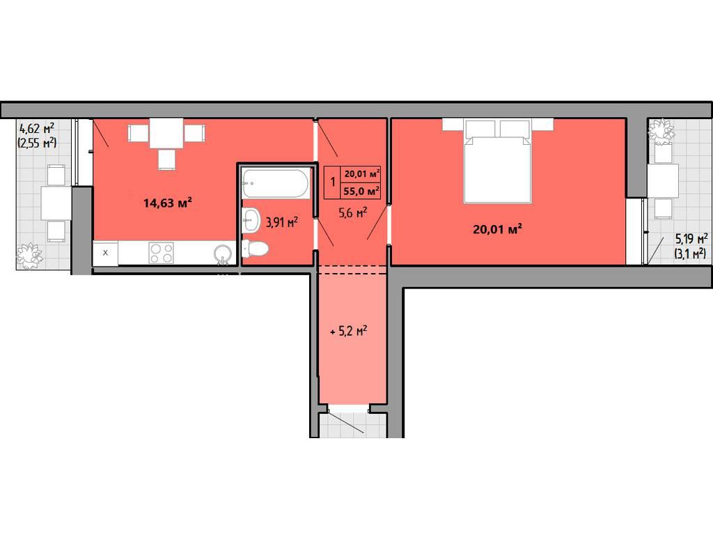 1-комнатная квартира, 55.50 м2, 36900 у.е.