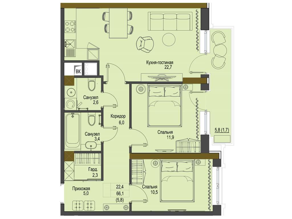 2-комнатная квартира, 66.10 м2, 99150 у.е.