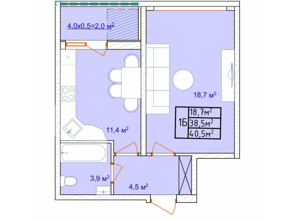 1-комнатная квартира, 41.60 м2, 35776 у.е.