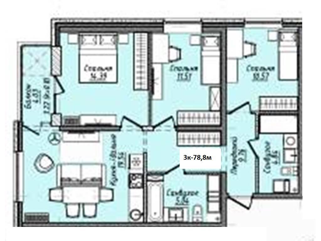 3-комнатная квартира, 78.80 м2, 59888 у.е.