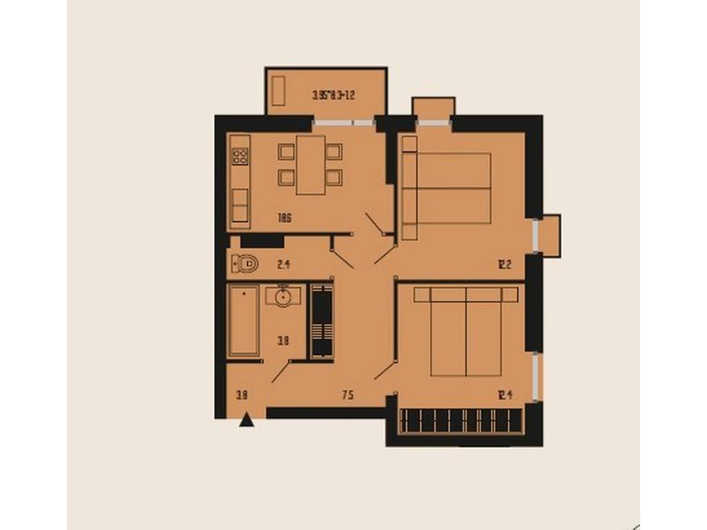 2-комнатная квартира, 60.00 м2, 62500 у.е.