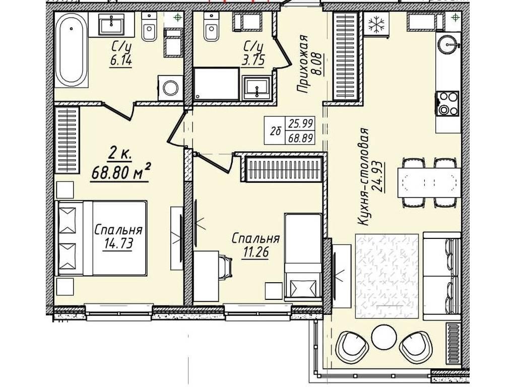 2-комнатная квартира, 68.80 м2, 75680 у.е.