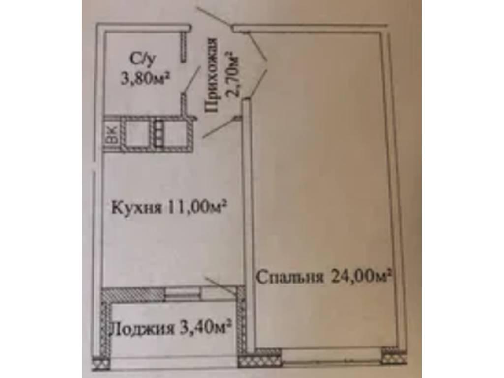 1-комнатная квартира, 45.70 м2, 38400 у.е.