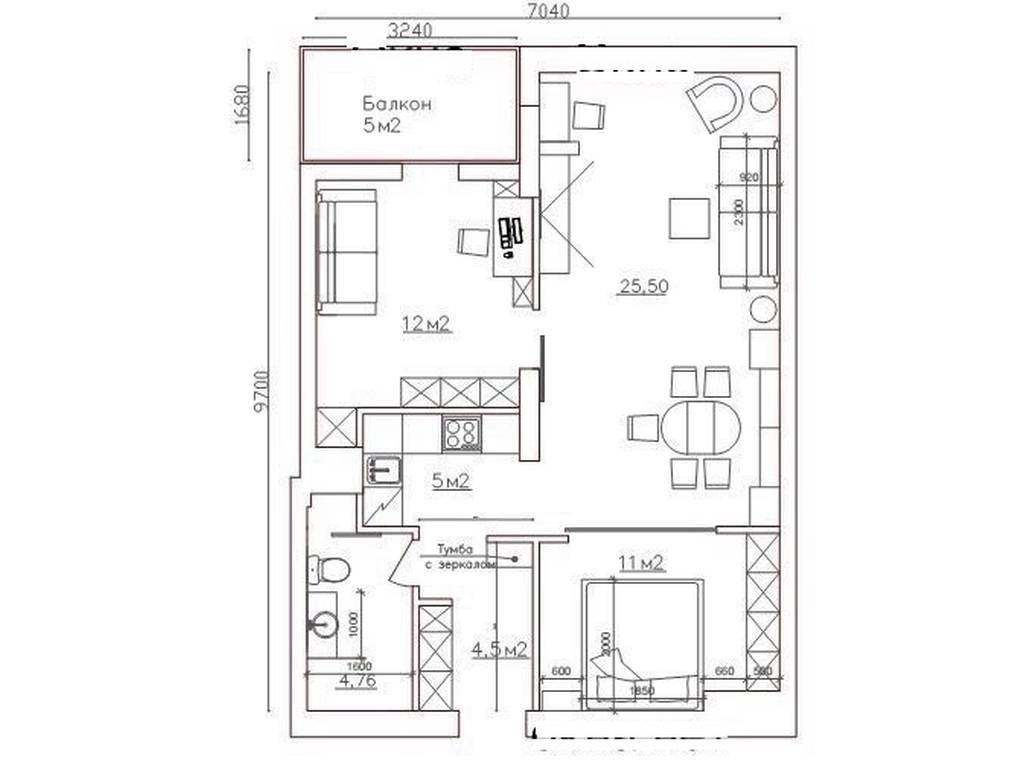 2-комнатная квартира, 66.00 м2, 104000 у.е.