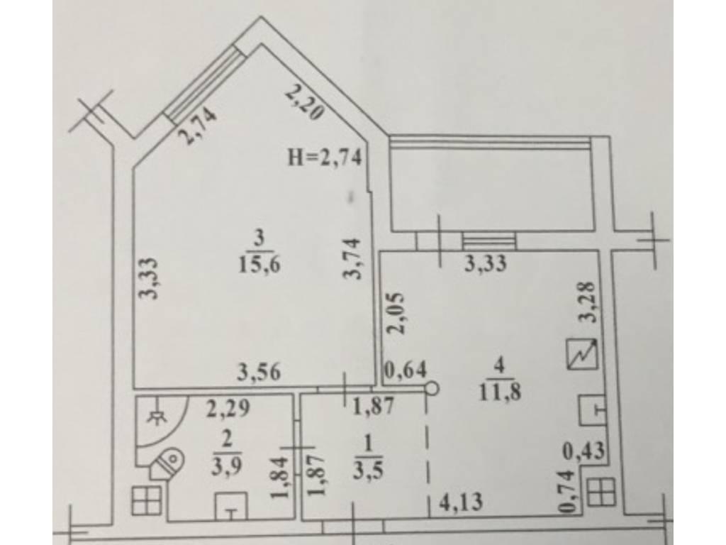 1-комнатная квартира, 38.00 м2, 37000 у.е.