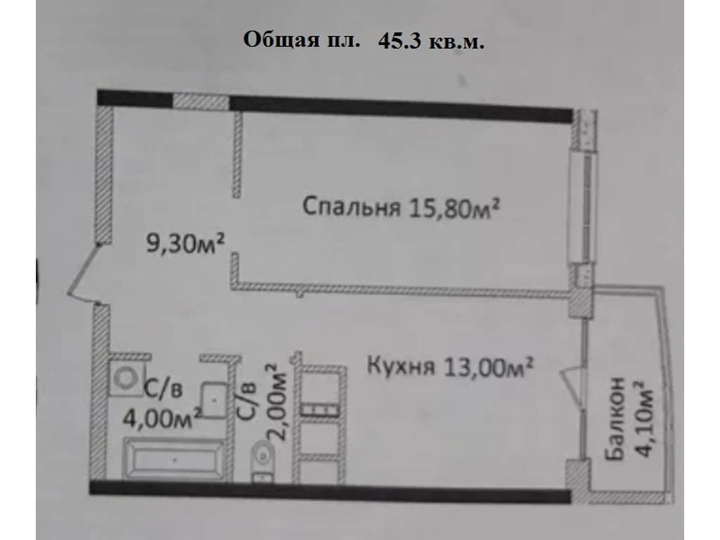 1-комнатная квартира, 46.50 м2, 52000 у.е.