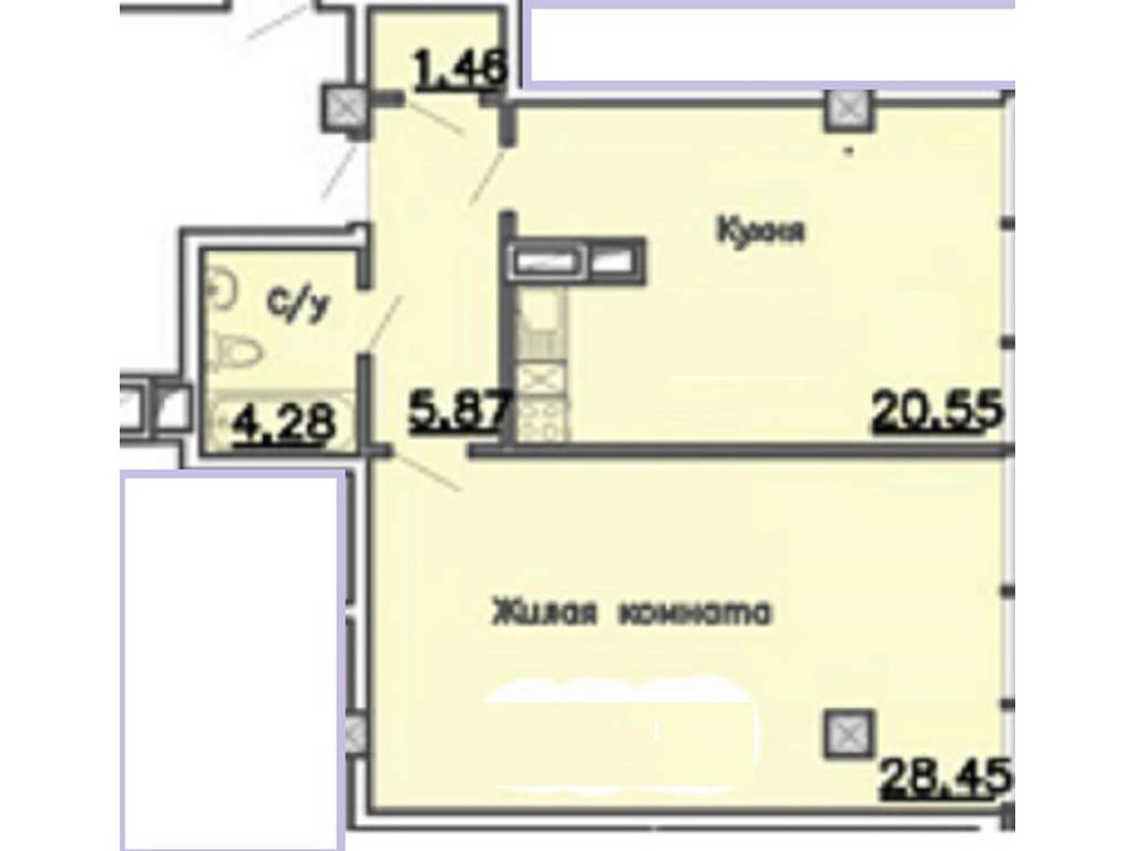1-комнатная квартира, 60.00 м2, 75250 у.е.