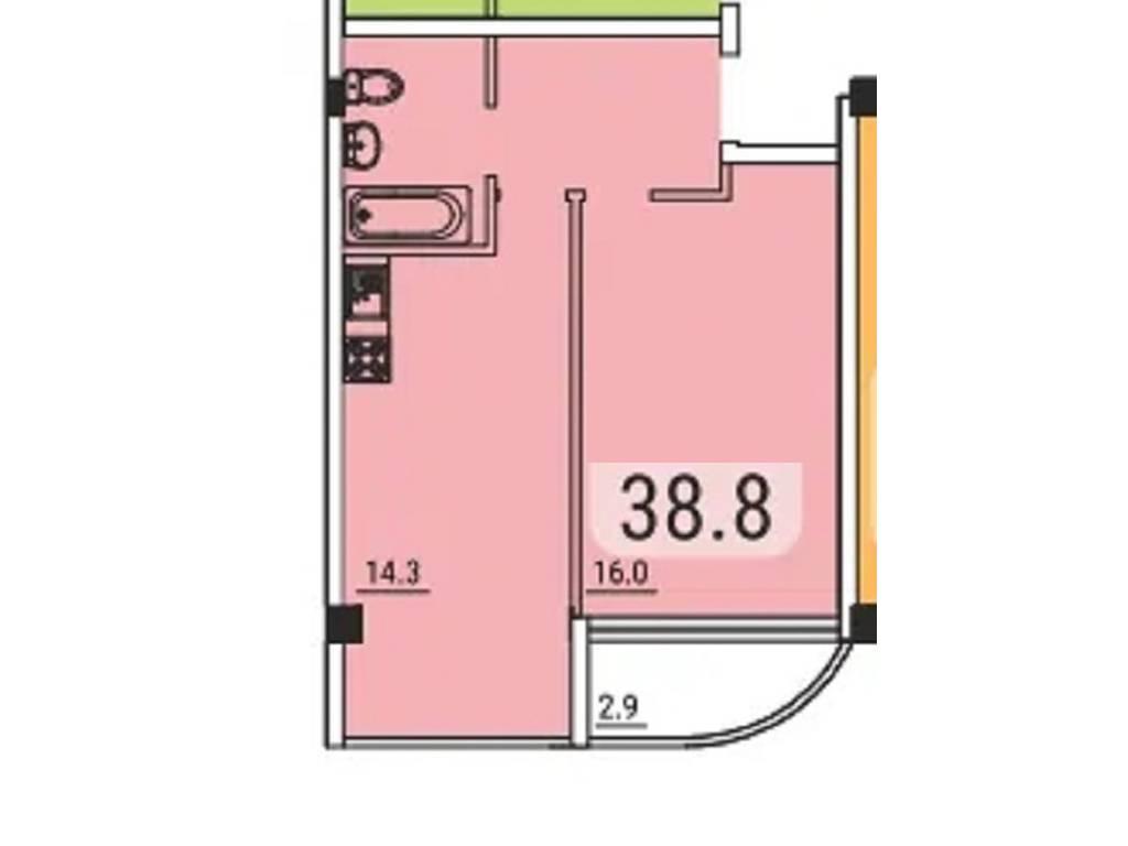 1-комнатная квартира, 39.00 м2, 38800 у.е.