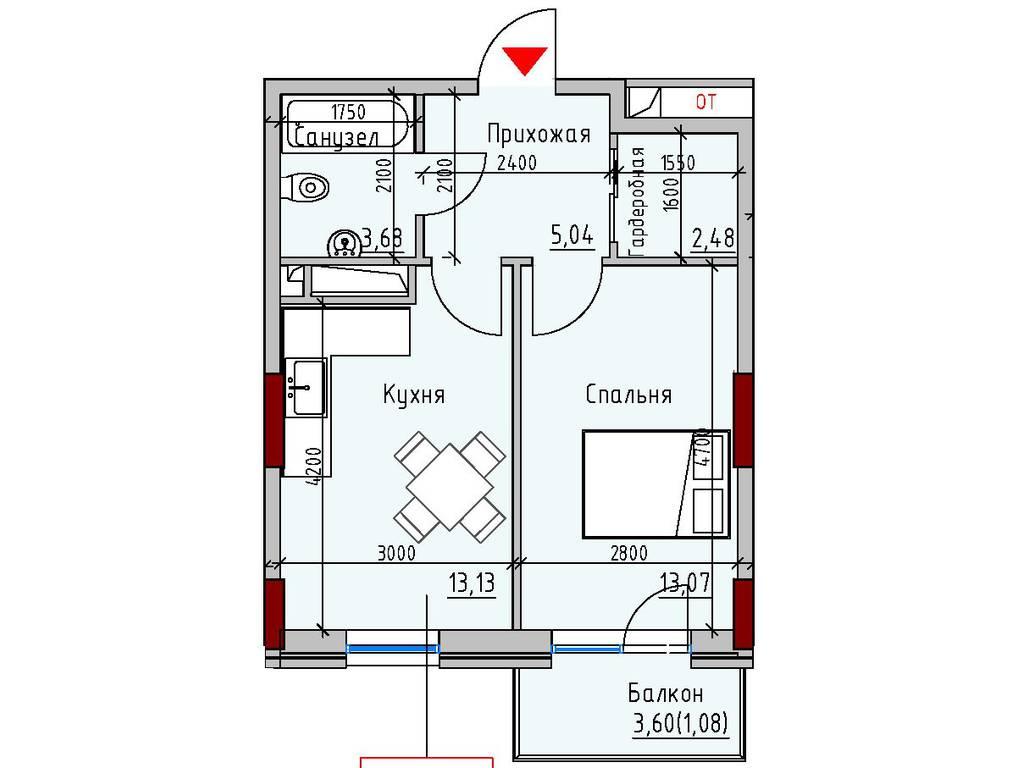 1-комнатная квартира, 38.48 м2, 36364 у.е.