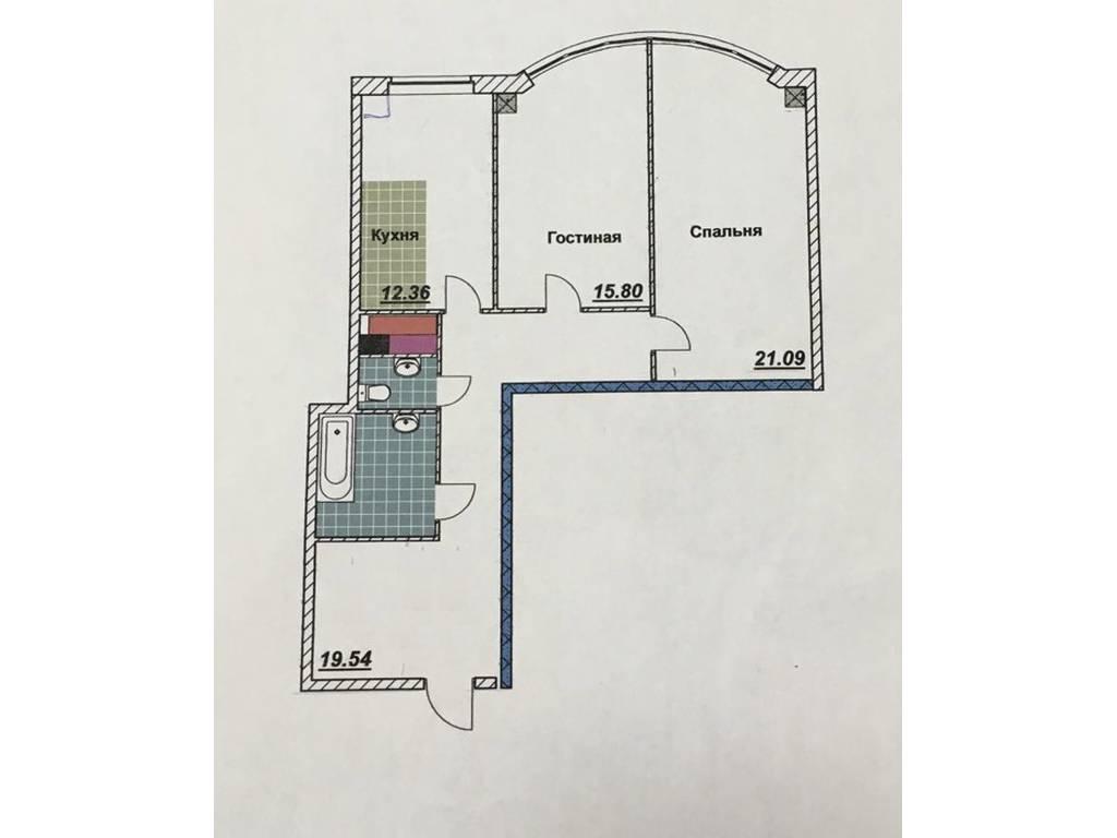 2-комнатная квартира, 85.00 м2, 55000 у.е.