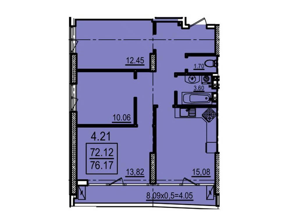 3-комнатная квартира, 76.00 м2, 96730 у.е.